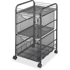 "Safco Onyx Double Mesh Mobile File Cart - 2 Shelf - 2 Drawer - 4 Casters - 1.50"" (38.10 mm) Caster Size - x 15.8"" Width x 17"" Depth x 27"" Height - Black Steel Frame - Black - 1 Each"