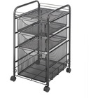 "Safco Onyx Mesh File Cart - 2 Shelf - 3 Drawer - 4 Casters - 1.50"" (38.10 mm) Caster Size - Steel - x 15.8"" Width x 17"" Depth x 27"" Height - Steel Frame - Black - 1 Each"