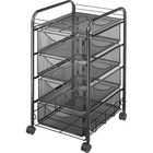 "Safco Onyx Double Mesh Mobile File Cart - 2 Shelf - 4 Drawer - 4 Casters - 1.50"" (38.10 mm) Caster Size - x 15.8"" Width x 17"" Depth x 27"" Height - Black Steel Frame - Black - 1 Each"