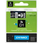 "Dymo D1 Electronic Tape Cartridge - 1/2"" Width x 22 63/64 ft Length - Thermal Transfer - White - Polyester - 1 Each"