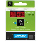 "Dymo Electronic Labeler D1 Label Cassette - 1/2"" Width x 23 ft Length - Thermal Transfer - Red - Polyester - 1 Each"