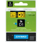 """Dymo D1 Electronic Tape Cartridge - 1/2"""" Width x 22 63/64 ft Length - Thermal Transfer - Yellow - Polyester - 1 Each"""