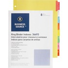 "Business Source Insertable Tab Ring Binder Indexes - 8 Blank Tab(s)1.50"" Tab Width - 8.50"" Divider Width x 11"" Divider Length - Letter - 3 Hole Punched - Multicolor Tab(s) - 8 / Set"