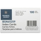 """Business Source Ruled White Index Cards - 5"""" Width x 3"""" Length - 100 / Pack"""