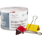 """Business Source Colored Fold-back Binder Clips - Large - 2"""" (50.80 mm) Width - 1"""" Size Capacity - 12 / Pack - Assorted - Steel"""