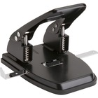 """Business Source Heavy-duty 2-Hole Punch - 2 Punch Head(s) - 30 Sheet Capacity - 9/32"""" Punch Size - Round Shape - Black"""