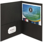 """Business Source Two-Pocket Folders - Letter - 8 1/2"""" x 11"""" Sheet Size - 125 Sheet Capacity - 2 Inside Front & Back Pocket(s) - Paper - Black - Recycled - 25 / Box"""