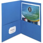 """Business Source Two-Pocket Folders - Letter - 8 1/2"""" x 11"""" Sheet Size - 125 Sheet Capacity - 2 Inside Front & Back Pocket(s) - Paper - Blue - Recycled - 25 / Box"""