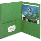 "Business Source Two-Pocket Folders - Letter - 8 1/2"" x 11"" Sheet Size - 125 Sheet Capacity - 2 Inside Front & Back Pocket(s) - Paper - Green - Recycled - 25 / Box"