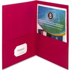 "Business Source Two-Pocket Folders - Letter - 8 1/2"" x 11"" Sheet Size - 125 Sheet Capacity - 2 Inside Front & Back Pocket(s) - Paper - Red - 25 / Box"