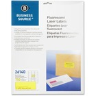 "Business Source 1"" Fluorescent Laser Labels - Permanent Adhesive - 1"" Width x 2 5/8"" Length - Rectangle - Laser - Neon Yellow - 30 / Sheet - 750 / Pack"