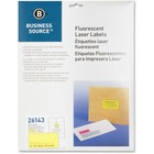 "Business Source 2"" Fluorescent Color Laser Labels - Permanent Adhesive - 2"" Width x 4"" Length - Rectangle - Laser - Neon Yellow - 10 / Sheet - 250 / Pack"