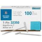 """Business Source High Quality Steel T-pins - 1.50"""" (38.10 mm) Length x 0.56"""" (14.29 mm) Width - 100 / Box - Silver - Steel"""