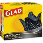 """Clorox Easy-Tie Kitchen Catchers - Extra Large Size31"""" (787.40 mm) Width x 42"""" (1066.80 mm) Length - Black - Plastic - 20/Pack - Garbage, Office, Kitchen, Bathroom, Bedroom"""