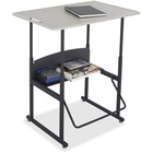 "Safco AlphaBetter Adjustable Height Computer Desk - 42"" Height x 36"" Width x 24"" Depth - Assembly Required - Gray"