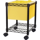 """Lorell Compact Mobile Wire Filing Cart - 4 Casters - x 15.5"""" Width x 14"""" Depth x 19.5"""" Height - Metal Frame - Black - 1 Each"""