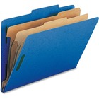 "Nature Saver 2-divider Legal Classifciation Folders - Legal - 8 1/2"" x 14"" Sheet Size - 2"" Fastener Capacity for Folder - 2 Divider(s) - 25 pt. Folder Thickness - Dark Blue - Recycled - 10 / Box"