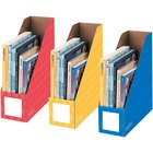 Bankers Box Magazine File Storage Holder - Yellow, Blue, Red - 3 / Pack
