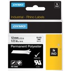 "Dymo Rhino Permanent Poly Labels - Permanent Adhesive - 1/2"" Width x 18 ft Length - Thermal Transfer - White, Black - Polyester - 1 Each"