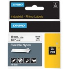 "Dymo Rhino Flexible Nylon Labels - 3/4"" Width x 11 31/64 ft Length - Thermal Transfer - White, Black - Nylon - 1 Each"