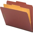 "Nature Saver Legal Size Expansion Classification Folders - Legal - 8 1/2"" x 14"" Sheet Size - 4 Fastener(s) - 2"" Fastener Capacity for Folder, 1"" Fastener Capacity for Divider - 2/5 Tab Cut - 1 Divider(s) - 25 pt. Folder Thickness - Pressboard - Red - Recy"
