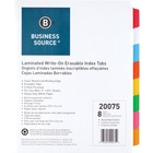 """Business Source Laminated Write-On Tab Indexes - 8 Write-on Tab(s) - 8 Tab(s)/Set - 11"""" Tab Height x 8.50"""" Tab Width - 3 Hole Punched - Self-adhesive, Removable - Multicolor Mylar Tab(s) - 8 / Set"""