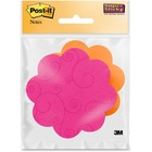 """Post-it&reg Super Sticky Die-Cut Note - 75 - 3"""" x 3"""" - Flower - Assorted - Self-adhesive - 1 Each"""