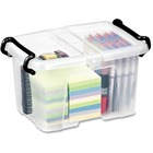 "Greenside Smart Storage Box - Internal Dimensions: 7.25"" (184.15 mm) Width x 9.50"" (241.30 mm) Depth x 6.25"" (158.75 mm) Height - External Dimensions: 8.8"" Width x 12"" Depth x 6.8"" Height - 6 L - 25 x CD/DVD - Polypropylene - Clear - For Stationary - 1 Ea"