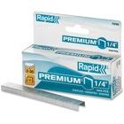 "Rapid Premium 1/4"" Staples - 25 Sheets Capacity - 210 Per Strip - 1/4"" - 0.25"" Leg - 0.5"" Crown - Chisel Point - Silver - 5000 / Box"