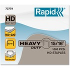 """Rapid Heavy-duty Staples - 100 Per Strip - Heavy Duty - 15/16"""" Leg - 1/2"""" Crown - Holds 220 Sheet(s) - for Paper - Galvanized, Chisel Point1 Box"""