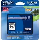 "Brother P-touch TZe Laminated Tape Cartridges - 15/64"" Width x 26 1/4 ft Length - Clear, Black - 1 / Each"