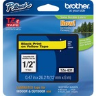 """Brother P-touch TZe Laminated Tape Cartridges - 15/32"""" Width x 26 1/4 ft Length - Rectangle - Yellow - 1 / Each"""