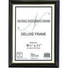 "Artistic Document Frame - 8.50"" x 11"" Frame Size - 1 Each - Wood, Glass - Black, Gold"