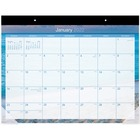 """At-A-Glance Tropical Escape Calendar Monthly Desk Pad - Yes - Monthly - 1 Year - January 2019 till December 2019 - 1 Month Single Page Layout - 22"""" x 17"""" - Headband - Desk Pad - Blue - Paper - Reference Calendar, Full-color Photos - Tropical Escapes"""