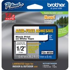 """Brother Adhesive Acid-free TZ Tape - 15/32"""" Width x 26 1/4 ft Length - Thermal Transfer - White - 1 Each"""