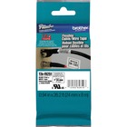 """Brother 1"""" Black on White Flexible ID Tape - 15/16"""" Width x 26 1/4 ft Length - Rectangle - Thermal Transfer - White - 1 Each"""