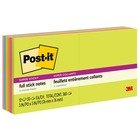 """Post-it® Super Sticky Full Adhesive Notes - Rio de Janeiro Color Collection - 300 x Assorted - 3"""" x 3"""" - Square - 25 Sheets per Pad - Unruled - Neon Pink, Electric Blue, Limeade, Electric Yellow - Paper - Removable - 12 / Pack"""