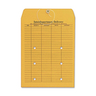 "Columbian Two-Sided Interdepartmental Envelopes - Interoffice - #13 - 10"" Width x 13"" Length - 28 lb - String/Button - Kraft - 100 / Box - Brown"
