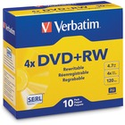 Verbatim DVD+RW 4.7GB 4X with Branded Surface - 10pk Jewel Case - 2 Hour Maximum Recording Time