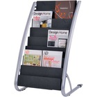 "Alba 6-Pocket Vertical Literature Display Stand - 800 x Sheet - 8 Compartment(s) - 36.6"" Height x 22.8"" Width x 19.7"" Depth - Floor - Silver, Black - Steel, ABS Plastic - 1Each"