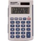 "Sharp Calculators EL-243SB 8-Digit Pocket Calculator - 3-Key Memory, Sign Change, Auto Power Off - 8 Digits - LCD - Battery/Solar Powered - 1 - LR1130 - 0.4"" x 2.5"" x 4.1"" - Gray, Blue - 1 Each"