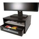 """Victor Midnight Black Collection Wood Monitor Riser - Flat Panel Display Type Supported - 1 x Shelf(ves)13.40"""" (340.36 mm) Width - Desktop - Matte Black - Faux Leather, Wood, Glass, Metal - Black"""
