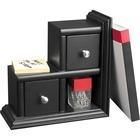Victor Midnight Black Collection Reversible Book End - 2 Drawer(s) - Desktop - Black - Wood, Metal - 1Each