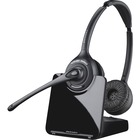 Plantronics CS520 Wireless Headset System - Stereo - Wireless - DECT - 300 ft - Over-the-head - Binaural - Semi-open - Noise Cancelling Microphone - Black, Silver