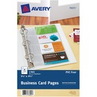 "Avery® Business Card Pages - 8 x Card Capacity - 5 1/2"" x 8 1/2"" Sheet - Ring Binder - Rectangular - Clear - Polypropylene - 5 / Pack"