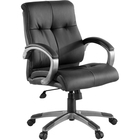 """Lorell Managerial Chair - Black Leather Seat - 5-star Base - Black - 19.5"""" Seat Width x 20.5"""" Seat Depth - 32"""" Width x 27"""" Depth x 41"""" Height - 1 Each"""