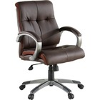 """Lorell Managerial Chair - Brown Leather Seat - 5-star Base - Brown - 19.5"""" Seat Width x 20.5"""" Seat Depth - 32"""" Width x 27"""" Depth x 41"""" Height - 1 Each"""