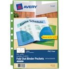 """Avery® Small Binder Pockets, Fold-Out, 5 1/2 x 9 1/4, Assorted, Pack of 3 (75308) - 20 x Page Capacity - 5 1/2"""" x 8 1/2"""" Sheet - Ring Binder - Rectangular - Assorted - Polypropylene - 3 / Pack"""