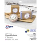 """Avery® Glossy White Circle Labels -Sure Feed Technology - 2"""" Diameter - Round - Laser, Inkjet - White - Paper - 12 / Sheet - 120 Total Label(s) - 120 / Pack"""