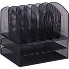 Lorell Steel Horiz/Vertical Mesh Desk Organizer - 8 Compartment(s) - Black - Steel - 1Each